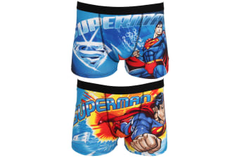 DC Comics Mens Superman Cotton Rich Boxer Shorts (2 Pairs) (Blue)