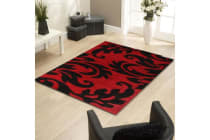 Damask Style Print Shag Runner Rug Red Black