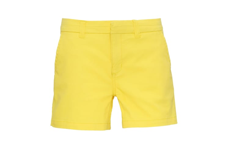 Asquith & Fox Womens/Ladies Classic Fit Shorts (Lemon Zest) (L)