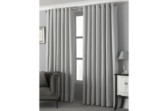 Riva Home Pendleton Ringtop Eyelet Curtains (Silver) (168 x 137cm)