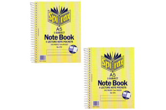 2x Spirax No.572 A5 3 Subject School/Uni 300 Pages Notebook 21cm w/ Note Pockets