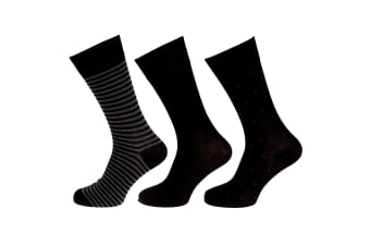 Wolf And Harte Mens Bamboo Socks (3 Pairs) (Black/Grey) (7-11 UK  41-46 EU)