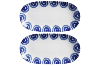 2x Maxwell & Williams 33x17cm Suomi Oblong Serving Fruits Cheese Platter BLU WHT