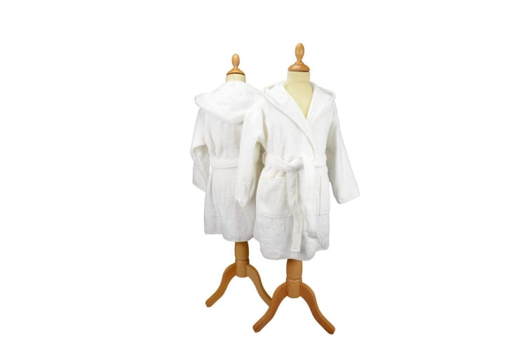 A&R Towels Childrens/Kids Boyzz & Girlzz Hooded Bathrobe (White) (5/6 Years)