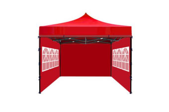 3x3m Party Pop Up Gazebo Marquee Canopy Folding Tent RED