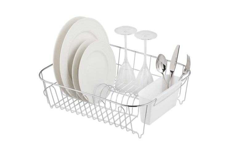 Avanti Slimline Large Dish Rack Drying Holder f Cup Plates Cutlery Drainer WHT