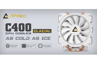 Antec C400 GLACIAL White Air CPU Cooler 12CM PWM 77 CFM Fan, 8mm Copper Base.