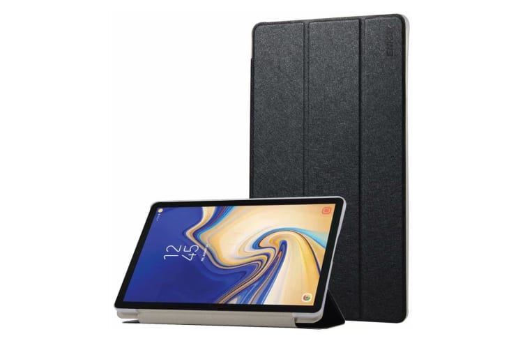 For Samsung Galaxy Tab S4 10.5in Case Black Silk Texture PU Leather Folio Case