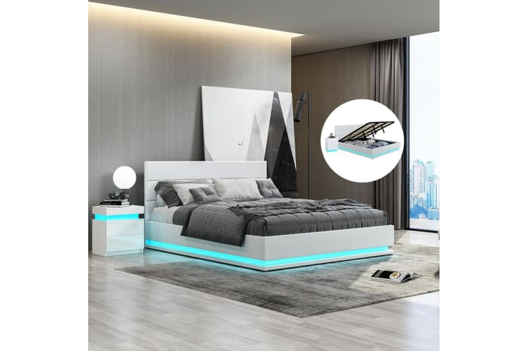 Modern White Leather Storage Bed Frame with LED   King