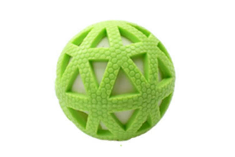 Select Mall 2PCS Creative Pet Toy Grid Glow Ball Vocal Ball 7.5cm Bite Resistant Natural Rubber Toy Suitable for Puppy Kitten-Green
