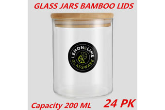 24 x Glass Jar Food Storage Bottles Sealed Cans Bamboo Lid Air Tight Container 200ml