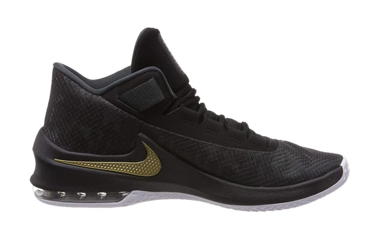 Nike Air Max Infuriate 2 Mid (Anthracite/Metallic Gold/Black/White, Size 8 US)