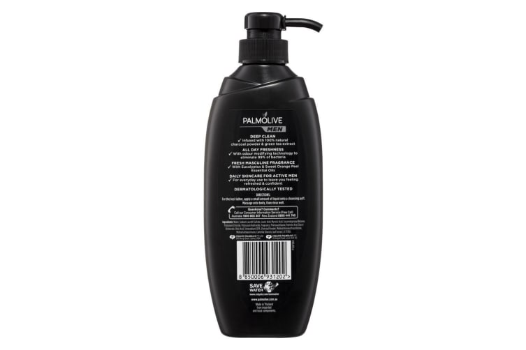 6x Palmolive 450ml Men Shower Gel/Body Wash Bath Skin Care with Natural Charcoal