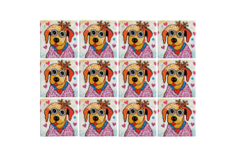 12pc Maxwell & Williams Smile Style Ceramic Tile Coaster Posey 9cm Placemat