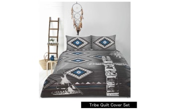 Retro Home Tribe Charcoal Quilt Cover Set SINGLE