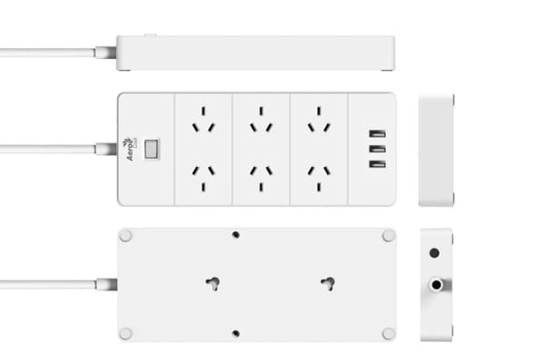 Aerocool ASA QA6A3U2 PowerStrip with 6 AC Outlet and 3 USB Charging Ports, 5V/2.4A