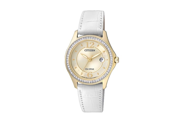 Citizen Ladies' Analog Eco-Drive Watch with Swarovski Crystals, Date & Leather Strap - White/Gold (FE1142-05P)