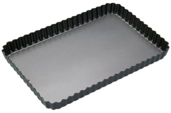 Bakemaster Loose Base Fluted Rectangular Flan/Quiche Pan 31x21x3.5cm