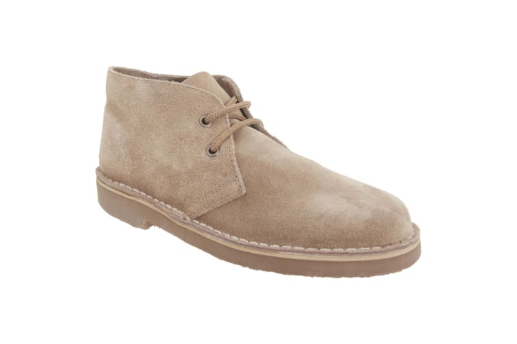 Roamers Mens Real Suede Unlined Desert Boots (Stone) (6 UK)