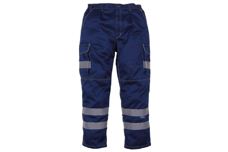 Yoko Mens Hi Vis Polycotton Cargo Trousers With Knee Pad Pockets (Navy) (48L)