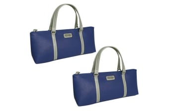 2x Sachi Wine Bottle Insulated Cooler Handbag Tote Carrier Purse Bag Handle Navy