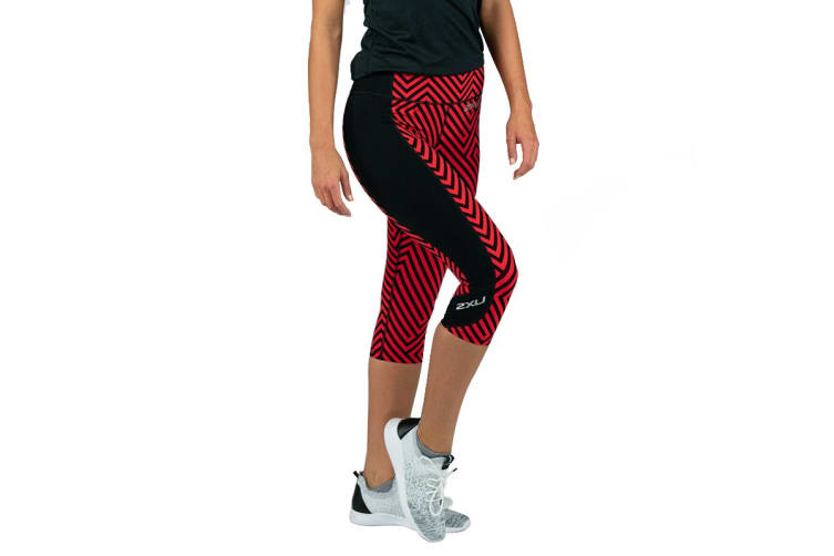 2XU Women's Fitness Compression 3/4 Tights (Black Tomato Maze/Black, Size XS)
