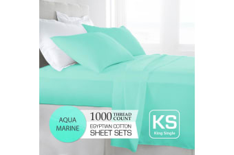 King Single Size Aquamarine 1000TC Egyptian Cotton Sheet Set