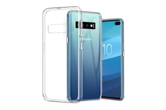 Samsung Galaxy S10+ Ultra Slim Premium Crystal Clear TPU Gel Back Case by MEZON – Shock Absorption, Wireless Charging Compatible (S10+, Gel)