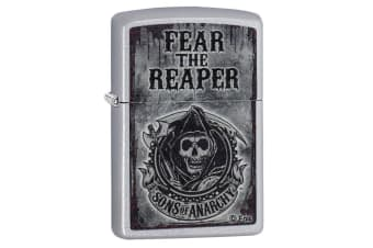 Zippo SOA Fear the Reaper Genuine Satin Chrome Finish Pocket Lighter Windproof