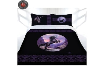Black Unicorn Quilt Cover Set by Anne Stokes