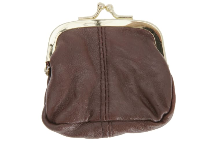 Womens/Ladies Soft Leather Coin Purse With Metal Clasp (Tan) (One Size)