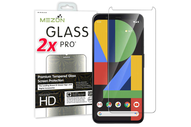 [2 Pack] Google Pixel 4 XL Tempered Glass Crystal Clear Premium 9H HD Screen Protector by MEZON – Case Friendly, Shock Absorption (Pixel 4 XL, 9H)