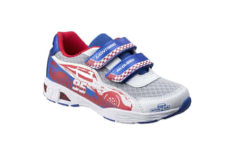 Leomil Childrens Boys Cars Lightning McQueen Touch Fastening Trainers (White/Blue)