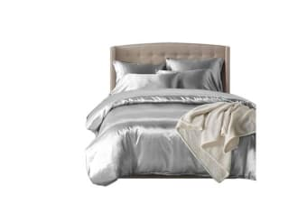 Dreamz Satin Duvet Cover Pillowcases Set SILVER - Double