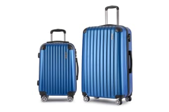 Set of 2 Hard Shell Travel Luggage with TSA Lock (Blue)