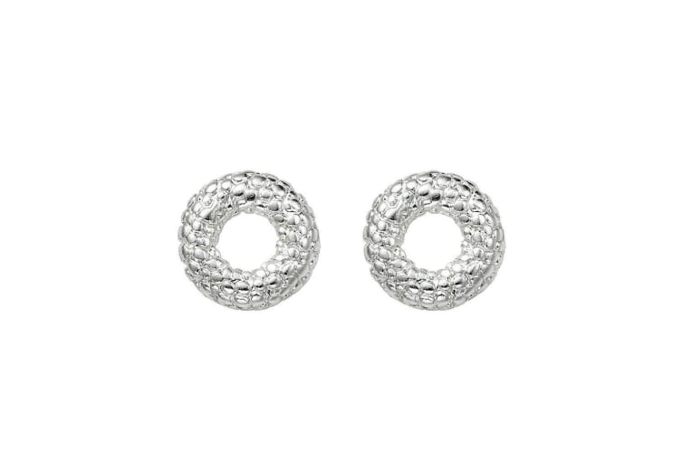 Intrigue Womens/Ladies Pebble Effect Circle Studs (Silver) (One Size)