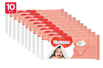 560 Huggies Soft Skin Baby Wipes (10 x 56 Pack)