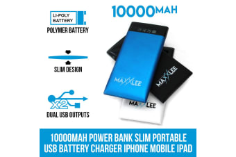 Maxxlee 10000mAh Power Bank Slim Portable USB Battery Charger iPhone Mobile iPad WHITE Elinz