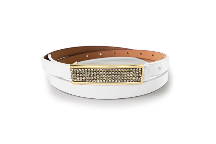 Leather Belt With Yellow Gold Buckle Purple-Leather/White