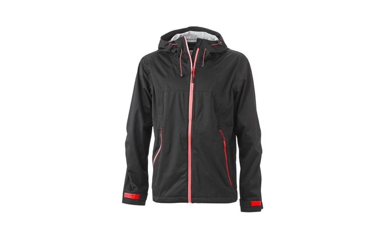 James and Nicholson Mens Outdoor Touch Fastening Jacket (Black/Red) (S)