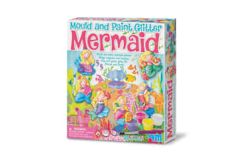 Kids Mould & Paint Glitter Mermaids Badges & Magnets Casting Kit