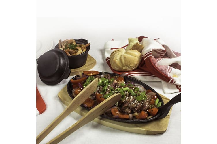 Pyrolux Pyrocast Cast Iron Oval Sizzle Plate w/ Maple Tray 27x18cm