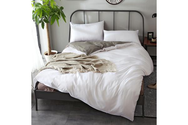 Image of 1000TC Microfibre Soft Duvet/Doo/Quilt Cover Set Charcoal&White - King