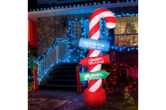 Jingle Jollys Inflatable Christmas 2.4M Candy Pole Lights Xma Outdoor Decoration