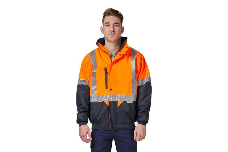 Hard Yakka Two Tone Quilted Flying Jacket (Orange/Navy, Size 5XL)