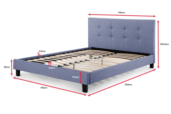Ovela Bed Frame - Positano Collection (Pewter Grey, Double)