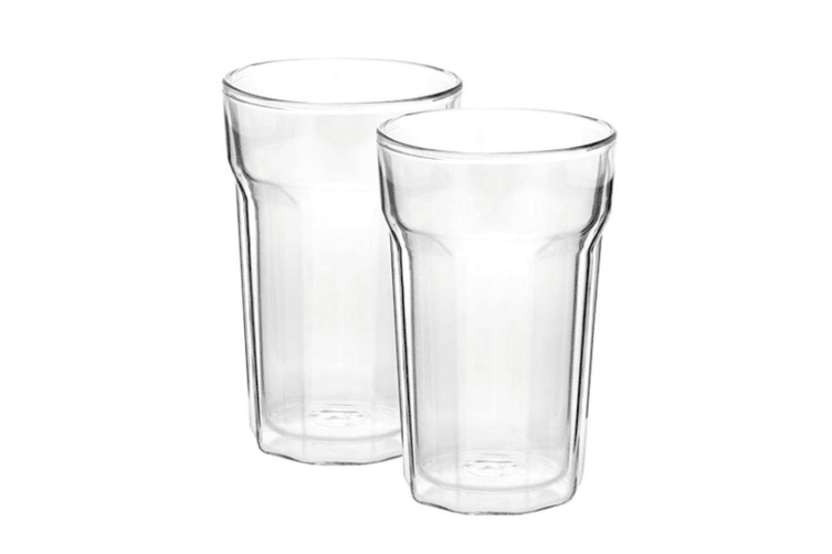 2PC Avanti 375ml Nove Twin Wall Glass f  Beer Juice Water Hot Cold Drink Tumbler