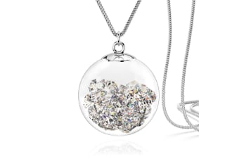 Clear Crystal Long Necklace w/Swarovski Crystals-White Gold/Clear