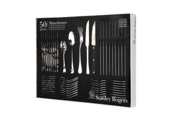 50pc Stanley Rogers Manchester Cutlery Set Stainless Steel Spoons Forks Knives