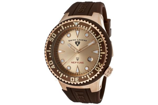 Swiss Legend Men's Neptune Rose Gold Dial Rose Gold Tone IP Case Brown Silicone (SL-21848D-RG-09-BRW)